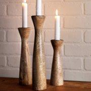 Highlight Wooden Candleholders - Set Of 3