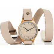 Wrap Around Beige Bamboo Watch