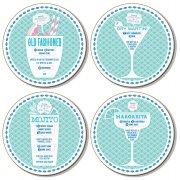Cocktails Coasters Set  (set of 4 assorted designs)