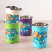 Handpainted Elephant Cups - Set of 4