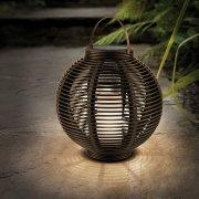 Solar Round Rattan Effect Lantern