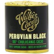 Willies Cacao Peruvian Black Cooking Chocolate Cylinder - 100% Chulucanas,Raisin & Plum - 180g