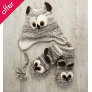 Kid's Fair Trade Owl Hat & Mitten Set