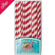 Pack of 25 Red Paper Party Straws