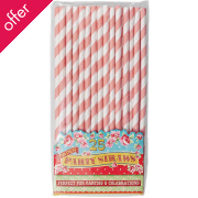 Pack Of 25 Pink Paper Party Straws