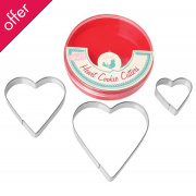 Set Of 3 Heart Cookie Cutters
