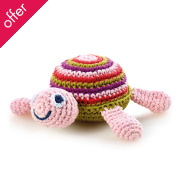 Fair Trade Crocheted Turtle Rattle - Pink
