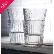 Clear Vintage Flower Glasses - Set of 4