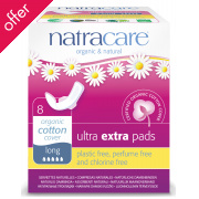 Natracare Organic and Natural Individually Wrapped Ultra Extra Pads - Long with Wings