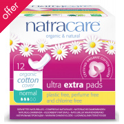 Natracare Organic and Natural Individually Wrapped Ultra Extra Pads - Normal with Wings