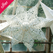 Hanging White Lacy Paper Doily Star
