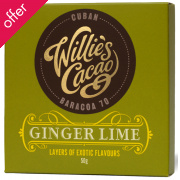 Willie's Cacao Ginger & Lime Dark Chocolate - 50g