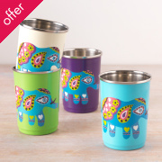 Handpainted Elephant Cups - Set of 4