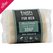 Faith In Nature Mens Blue Cedar Bar Soap - 100g