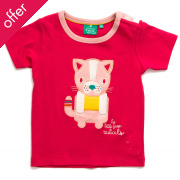 Cat Applique Tee - Rose Pink