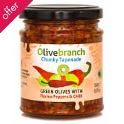 Olive Branch Chunky Tapenade - Green Olives With Florina Peppers & Chilli - 180g