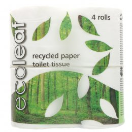 Ecoleaf Recycled Paper Toilet Tissue - Pack of 4