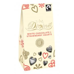 Divine White Chocolate Hearts with Strawberry 100g
