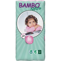 Bambo Nature Disposable Nappies - XL PLus - Size 6 - Jumbo Pack of 44