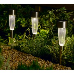 Solar Powered Fluted Stake Light - Pack of 10