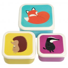 Set Of 3 Rusty Fox And Friends Square Snack Boxes