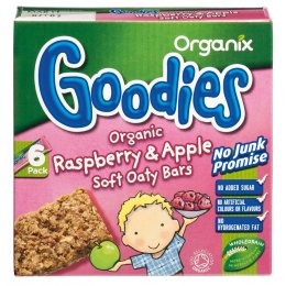 Organix Raspberry & Apple Soft Oaty Bars - 6x30g
