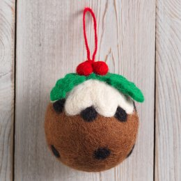 Hand Felted Christmas Pudding Decoration