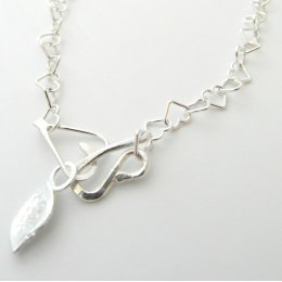 La Jewellery Recycled Beaten Heart Silver Necklace