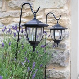 Solar Powered Shepherds Crook Coach Lanterns - Pack Of 2