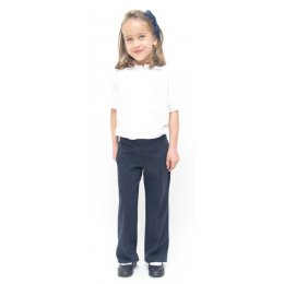 Girls Drop Waist School Trousers With Adjustable Waist - Navy Blue - Infant