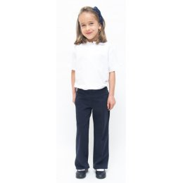 Girls Drop Waist School Trousers With Adjustable Waist - Navy Blue - Junior