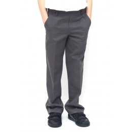 Boys Classic Fit School Trousers With Adjustable Waist - Grey - Infant
