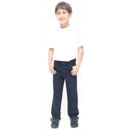 Boys Slim Fit School Trousers With Adjustable Waist - Navy - Infant