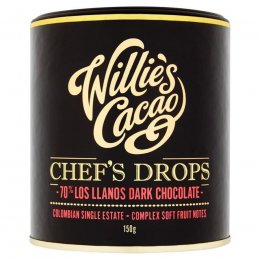 Willies Cacao Madagascan Chefs Drops Cooking Chocolate - 70 percent  Los Llanos - 150g