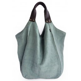 Hava Bag with Leather Handles - Mint Blue test