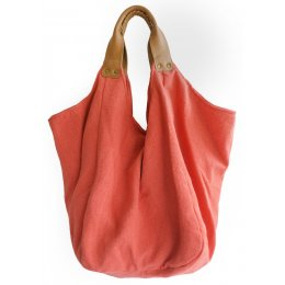 Hava Bag with Leather Handles - Coral test