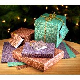 Christmas Gift Wrap - Set of 5 - Teal, Burgundy & Purple test