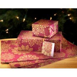 Christmas Snowflake Gift Wrap - Set of 4 - Burgundy test