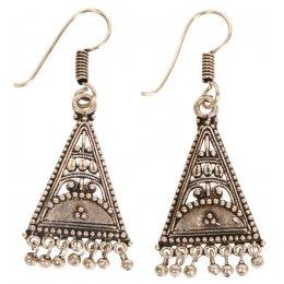 Folk Style Triangle Silver Earrings test