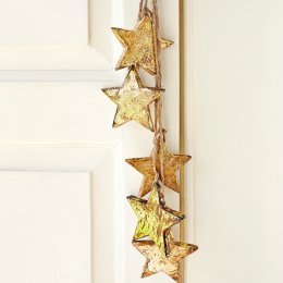 Wooden Stars Decoration - Gold
