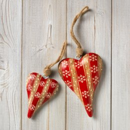 Hanging Wooden Striped Heart Decoration - Large test