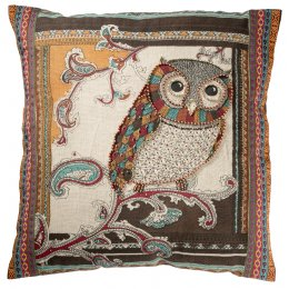 Owl Design Cotton Cushion Cover