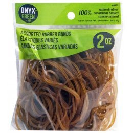 100 percent  Natural Rubber Bands - Assorted Sizes - 2oz