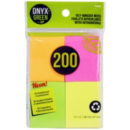 Recycled Paper Self-Adhesive Notes - 4 x 50 Sheets - Assorted Colours