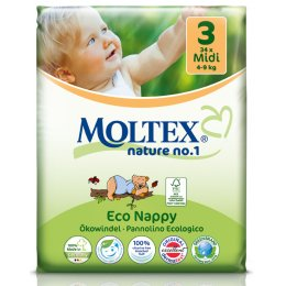 Moltex Nature Disposable Nappies - Midi - Size 3 - Pack of 34