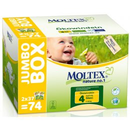 Moltex Nature Disposable Nappies - Maxi - Size 4 - Jumbo Box of 74