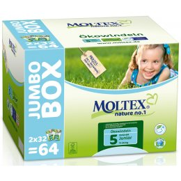 Moltex Nature Disposable Nappies - Junior - Size 5 - Jumbo Box of 64