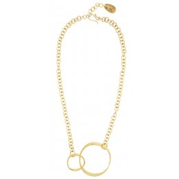 People Tree Brass Double Circle Necklace