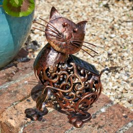 Solar Powered Metal Silhouette Scroll Cat Light