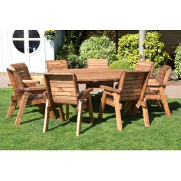 Eight Seater Circular Outdoor Table Set